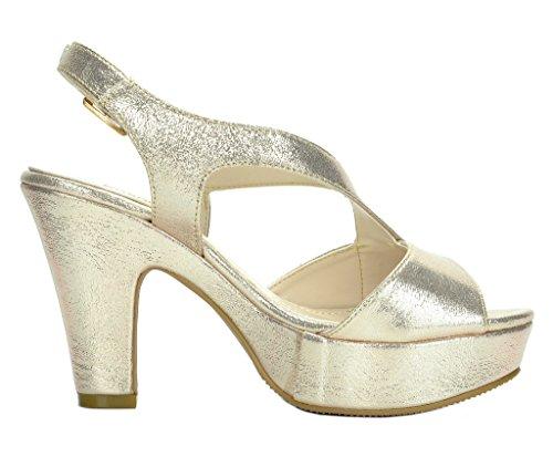 Paio Di Scarpe Da Donna Michelle Mid Heel Platform Sandali Pompa Vanka-gold
