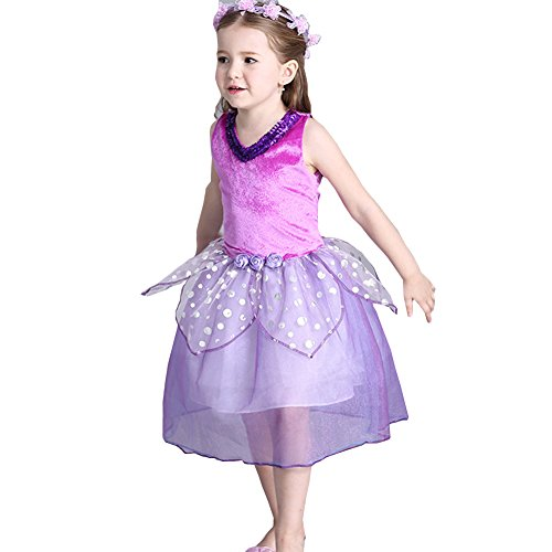 Baby Kid Girls Floral Evening Party Princess Dress Halloween Costums Outfits (3-4 Years, Purple)