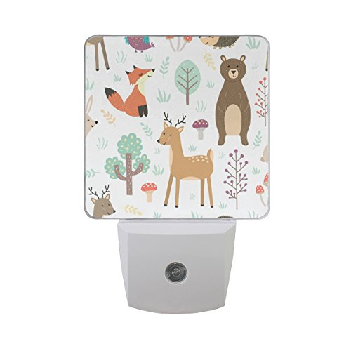 Plug-in Night Light Forest Cute Animals Printed LED Nightlight, Dusk-to-Dawn Sensor, Bedroom, Bathroom, Kitchen, Hallway, Stairs, Energy Efficient, 2-Pack, 0.5W