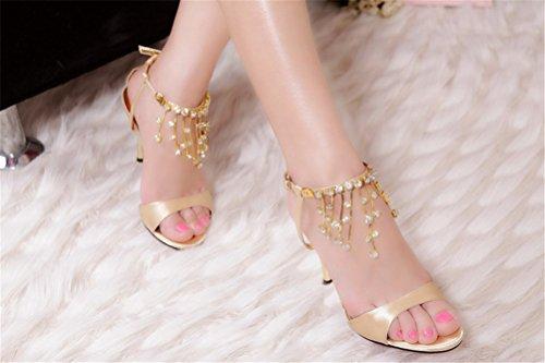 Heel 3 Hochzeit 6 Quasten 5 Fashion Gold 5 High SEXYHER 3 Sandalen Zoll Womens SHOMQ1088 Schuhe Sekt 4A6wxz8q