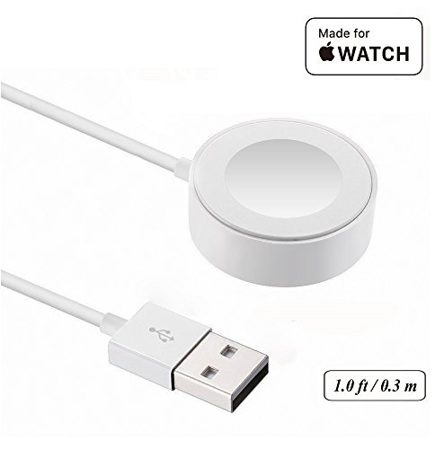 Price comparison product image IQIYI Apple MFi Certified Apple Watch Charger, 1.0ft(0.3M) Magnetic Charging Cable for Apple Watch 38mm & 42mm, Apple Watch Series 1/2/3
