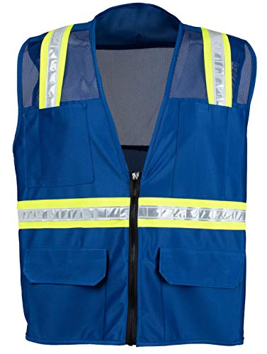 Safety Depot Safety Vest High Visibility Reflective Tape with 4 Lower Pockets, 2 Chest Pockets with Pen Dividers 8038M (Mesh, Royal Blue, XL)