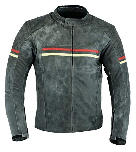 - Mens MOTORCYCLE LEATHER JACKET VINTAGE BIKERS STYLE DARK GRAY/RED DC-4077 (XXL)
