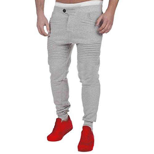 Jogging Clair Manner Gris Deux Homme Bold Taille Poche Fit Pantalons Sport Élastique Haute Casual Sarouel vdq6n1wqO