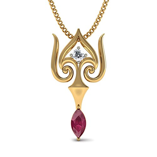 Or jaune 14K 0,07ct tw Round-cut-diamond (IJ | SI) et rubis Pendentif
