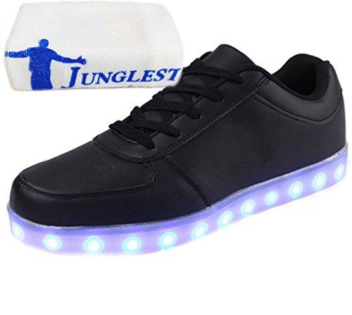 [Present:kleines Handtuch]JUNGLEST 7 Farbe USB Aufladen LED Leuchtend Sport Schuhe Sportschuhe Sneaker Turnschuhe für Unise Schwarz