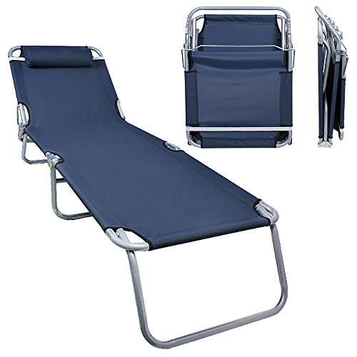 Flexzion Patio Lounge Chair - Portable Folding Chaise Bed for Outdoor Indoor Furniture Home Gargen Yard Pool Beach Camping Sleep SPA with Removable Pillow (Dark Blue) (Outdoor Adjustable Adirondack Lounge)