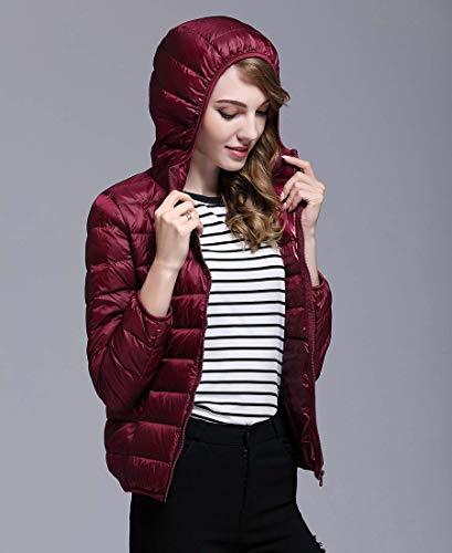 Packable Women Down Puffer Jacket Ultra Lightweight Red Coats Short Hooded Wine SrSxw6Eq