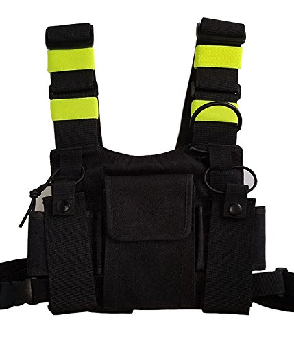 Lewong Universal Hands Free Chest Harness Bag Holster for Two Way Radio (Rescue Essentials) (Black and Fluorescent Green) ()