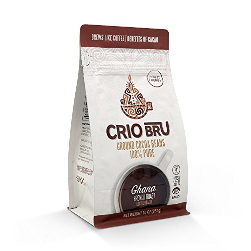 Crio Bru Ghana French Roast 10 oz Bag | Natural Healthy Brewed Cacao Drink | Great Substitute to Herbal Tea and Coffee | 99% Caffeine Free Gluten Free Whole-30 Low Calorie Honest Energy