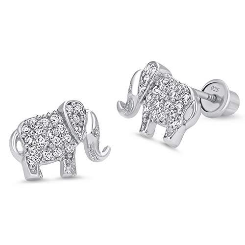 Zirconia Cubic Elephant - 925 Sterling Silver Rhodium Plated Elephant Cubic Zirconia Screwback Baby Girls Earrings