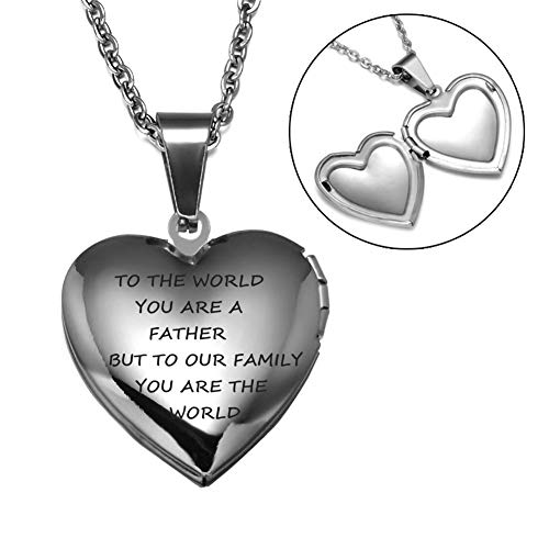 Murinsar Personalized Stainless Steel Silver Openable Photo Heart Locket Necklace Pendant for Dad, Mom, Unique Mother's Father's Day Gift From Daughter Son (Have A Nice Day Poems For Him)