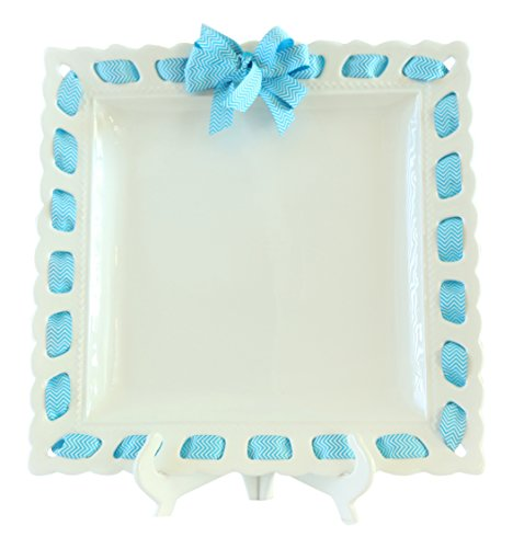 Prissy Plates 26016S-130 Square Serving Platter with Blue Chevron Ribbon, 16