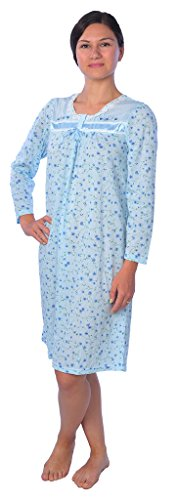 Beverly Rock Women's Floral Long Sleeve Nightgown Available in Plus Size XQ618 Blue 4X