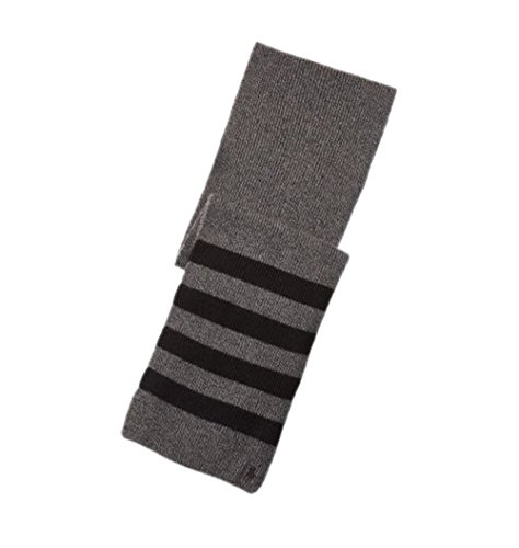 Polo Ralph Lauren Men's Rib-Knit Wool-Cashmere Winter Scarf - Charcoal Grey and Black (Pattern Scarf Rib)