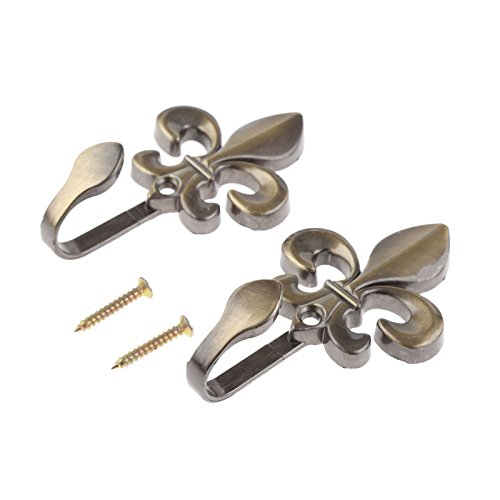 Hicello 2Pcs Bronze Metal Flower Curtain Hold Back Hook Tassel Tieback Holders Curtain Accessories Towel Cloth Coat Wall Door Hooks with Screws