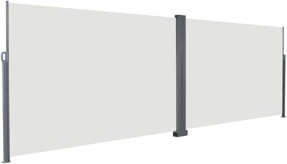 vidaXL Tenda da Sole Laterale Retrattile 200x600cm Crema Paravento Frangivento
