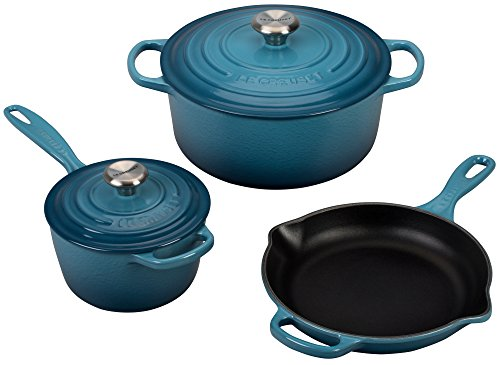 Le Creuset 5 Piece Signature Enameled Cast Iron Cookware Set, (Le Creuset Enameled Stoneware)