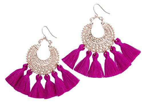 Rose Gold Tassel Earrings: Fuchsia fringe gifts for women. Fashion drop dangle tassle earing by BLUSH & CO. (Fuchsia)