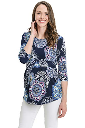 LaClef Women's Round Neck 3/4 Sleeve Front Pleat Peplum Maternity Top (Navy Paisley, M) (Maternity Top Paisley)