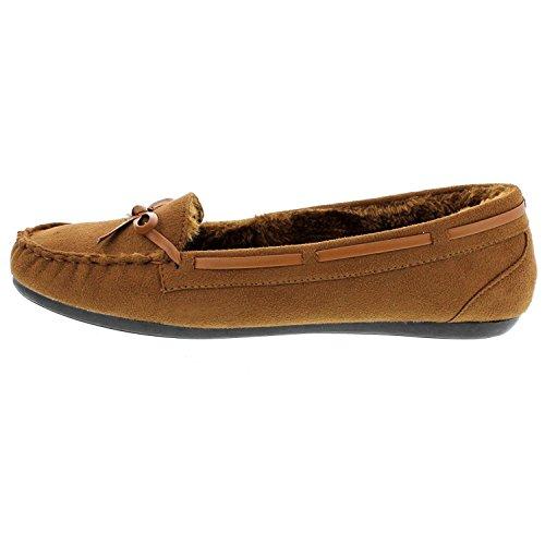 Wells Elegante Dames Casual Faux Suede Kameel Kleur Mocassin Loafers (10, Bruin)