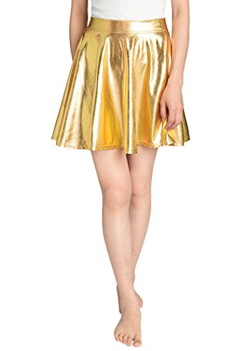 Gold Metalic Skirt (JustinCostume Women's Metallic Skirt Flared Shiny Skirt XL)