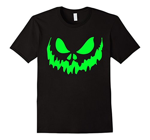 Mens Scary Face Halloween Tshirt | Glow in the Dark Effect Print Large Black