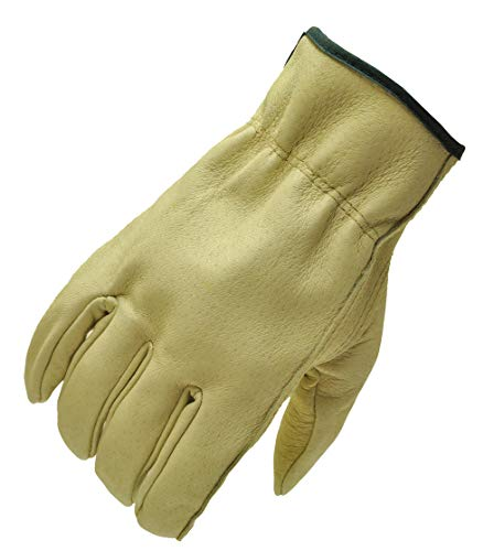 - G & F 2002L-3 Full Grain Pigskin Leather Work Gloves, Drivers Gloves, Premium Washable leather, Size Large. (Value Pack: 3 pairs)