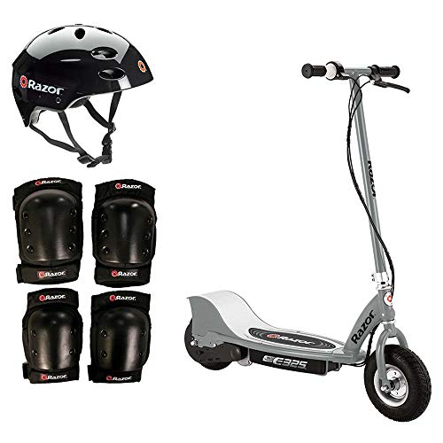 Razor E325 Electric 24V Gray Scooter + Youth Helmet + Elbow Knee Pad Safety - Electric Razor Knee Pads
