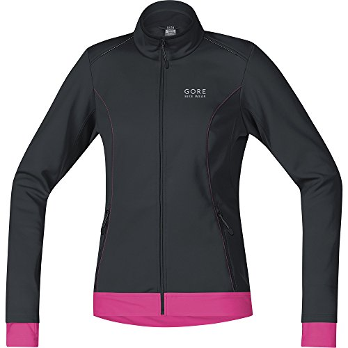 GORE BIKE WEAR 2 in 1 Women's Cycling Jacket, Super-Light, Compact, GORE WINDSTOPPER,  LADY Jacket, Size: 38, Black/Rose, - Cycling Jackets Ladies