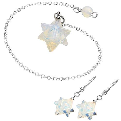 Top Plaza Chakra Gemstone Reiki Balancing Healing Crystal Pendulum And Dangle Hook Earrings Merkaba Star Stones Jewelry Set For Women(Synthetic Opalite)