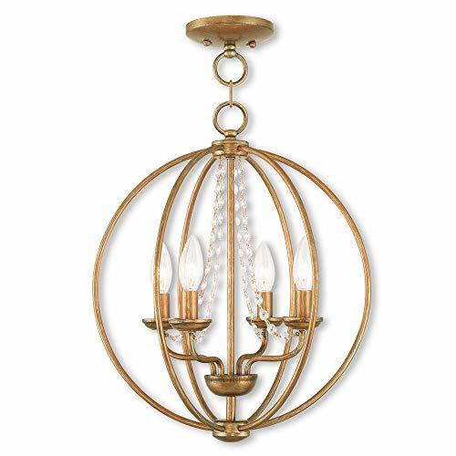 (Livex Lighting 40914-48 Arabella 4 Light AGL Mini Chandelier/Flush Mount, Antique Gold Leaf )