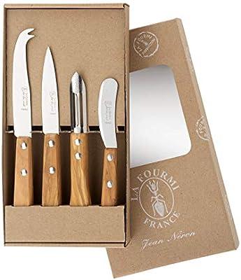 Compra El estuche kraft de 4 cuchillos de cocina la hormiga mango de olivo: 1 unidad, un pelador, un cuchillo para queso, un cuchillo de oficio de 9 cm. en Amazon.es