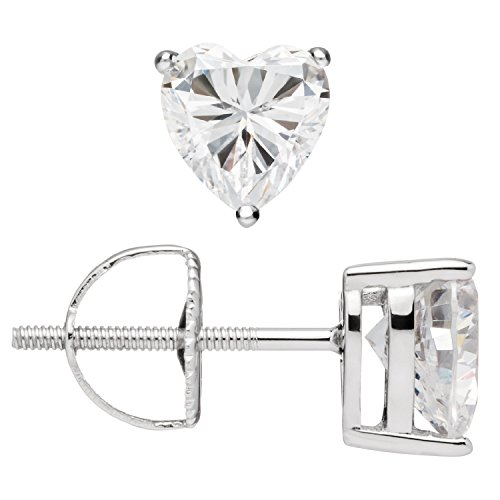 Everyday Elegance | 14K Solid White Gold Earrings | Heart Cut Cubic Zirconia Stud | Screw Back Posts | 1.5 cttw | With Gift Box Diamond Shape Post Earrings