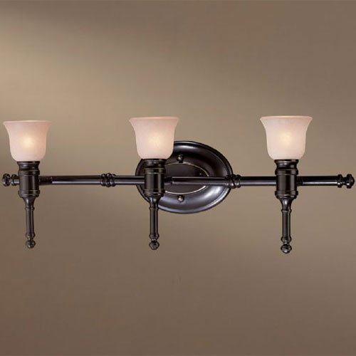 Minka Lavery 3513-37C Bronze Bath 3 Light Bath Vanity Light in Restoration Bronze with Double French Scavo (French Scavo Glass)