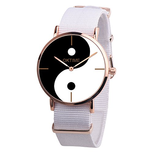 Quartz Watches Yin-Yang Big Face Eight-Diagram Tactics Casual Pointer Alloy Analog Wrist Watch Teen Girls Fashion Round Watches, Women Watches on Sale Clearance (White) ()