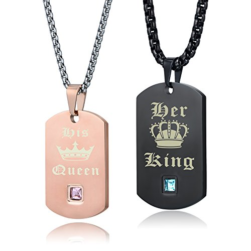 Crown Dog Tag Necklace - Wolentty His Hers Couple Necklace Stainless Steel King and Queen Dog Tags Crown Necklaces Gift for Boyfriend Girlfriend (Rose Gold)