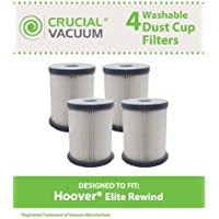 4 Replacements for Hoover Elite Rewind HEPA Style Filter Fits Fusion Uprights, Compatible With Part # 59157055, by Think Crucial