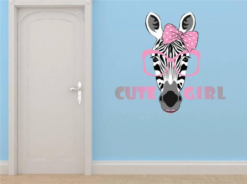 Vinyl Wall Decal Sticker : Cute Girl Zebra Print Animal With Sunglasses Bow Bedroom Bathroom Living Room Picture Art Peel & Stick Mural - Discounted Sale Price Size: : 20 - Sunglasses Discounted