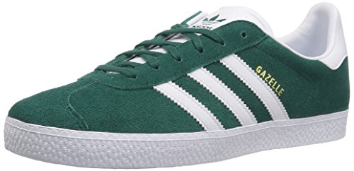 adidas Originals Unisex Gazelle Sneaker, White/Noble Green, 4 M US Big Kid