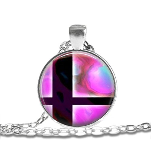 SUPER SMASH BROS BALL Pink and Black Bezel Pendant Necklace Silver Plated AMZN6