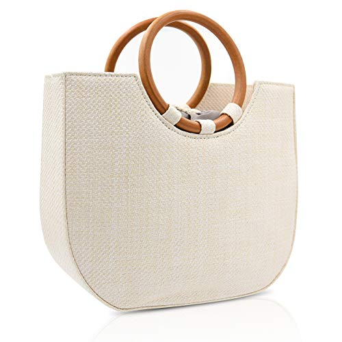 VOSTOR Straw Handbag for Women Summer Beach Straw Handbag Wooden Ring Tote Crossbody Shoulder Bag With Leather Strap ()