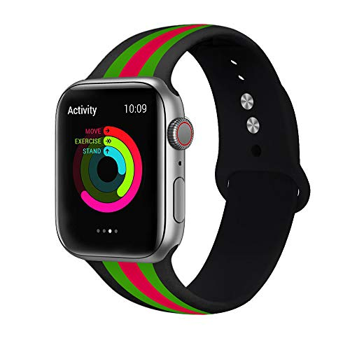 WHLIHUSU Sport Band, Compatible for Apple Watch 42mm 44mm, Soft Silicone Stripe Strap Replacement iWatch Bands Compatible for Apple Watch Wristbands Series 4 3 2 1 Nike+ (M/L,Black Green Red)