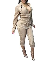 09be40ab2ed Women s Stylish Long Sleeve Zipper Turn Down Collar Capri Pant Jumpsuit  Overalls