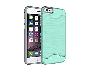 Winhoo iPhone 6/6s Case,Brushed Metal Design Slim Hybrid PC+TPU Case With Hidden Credit Card Slot,Shockproof Protective Kickstand Cover Case for Apple iPhone (Green for iPhone 6/6s 4.7 inch)