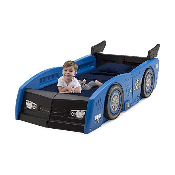 Delta Children Grand Prix Race Car Toddler and Twin Bed, Blue 3