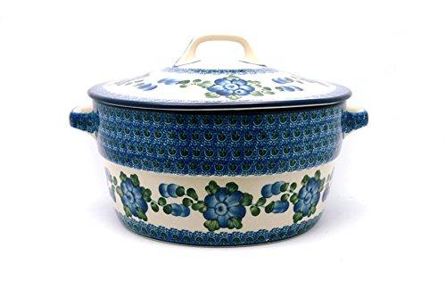 Polish Pottery Baker - Round Covered Casserole - Blue Poppy Polish Pottery Round Covered Dish