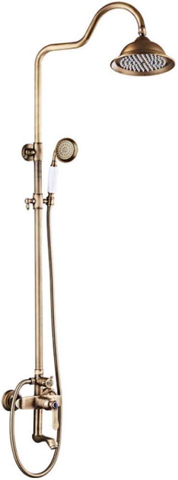 fbnrql Nuevos Conjuntos de ducha de lluvia de lat/ón antiguo de lujo Grifo mezclador Grifo de ducha de bronce antiguo Lat/ón