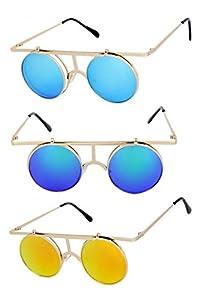 Round Metal Wire Frame Flip Up Steampunk Sunglasses