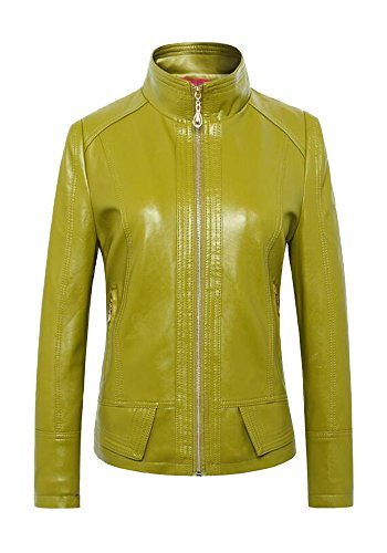 Rider Denim Jacket - DOOXIYOUNG Women's Faux Leather Bomber Jean Moto Rider Jackets (XL, green)